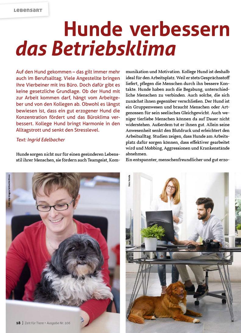Hunde verbessern das Betriebsklima