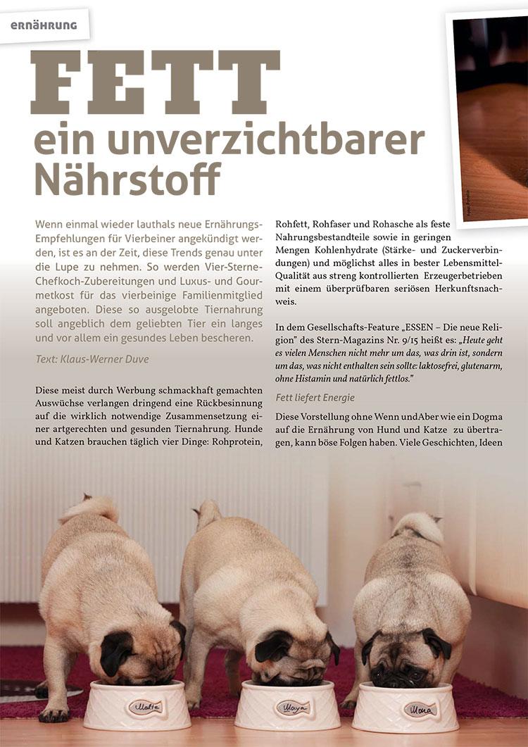 Bei Hunden fett unverzichtbar